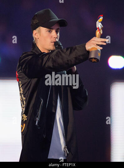 Brit Awards Show at the 02 Arena in London.  Featuring: Justin Bieber Where: London, United Kingdom When: 24 Feb - Stock Image