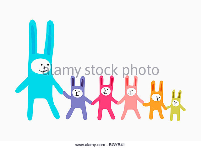 Rabbit family - Stock-Bilder