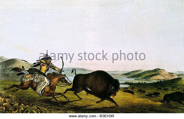 geography / travel, USA, Native American Indian hunting buffalo, painting, Peter Rindisbacher, circa 1830, animal, - Stock Image