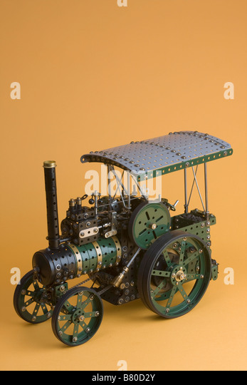 Meccano scale model of traction engine stock image