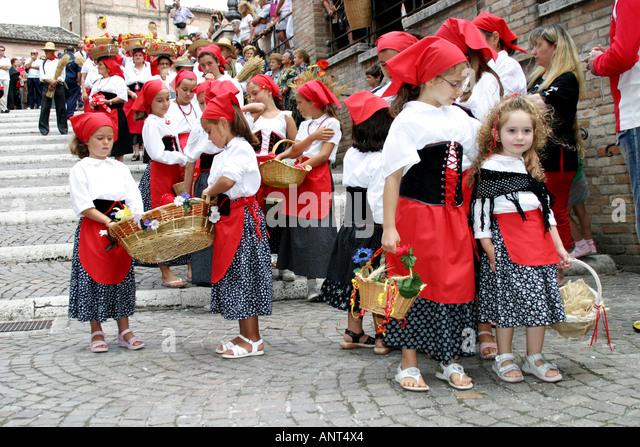 The annual colorful  traditional  religious ','Festa de Canestralle', ,festival  in Amandola, Le Marche, - Stock Image
