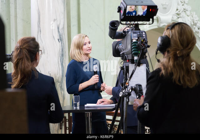 Stockholm, Sweden. 12th Sep, 2017. Opening of the Riksdag. Mingle and interviews after the session. Ebba Busch Thor, - Stock Image