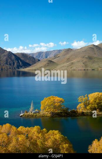 Sailors Cutting in autumn, Lake Benmore, Waitaki Valley, North Otago, South Island, New Zealand - Stock Image