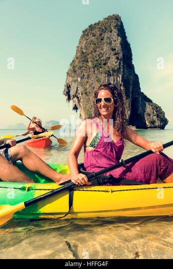 Kayaking Tropical Vacation Trip Tourist Boat Concept - Stock Image