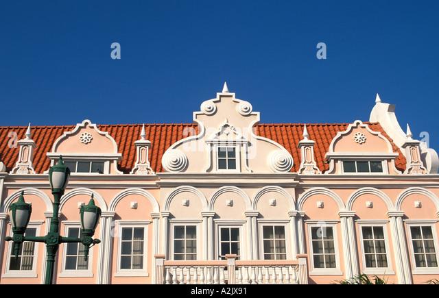 Aruba Oranjestad Shopping Mall Dutch building facade - Stock Image