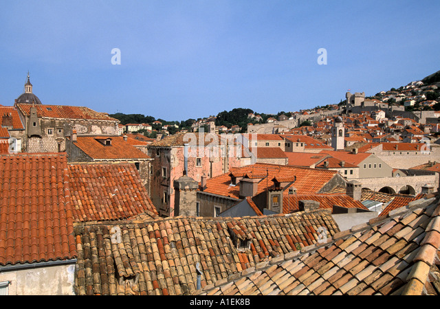 Dubrovnik Croatia Old Town Walled City Rooftops above - Stock Image