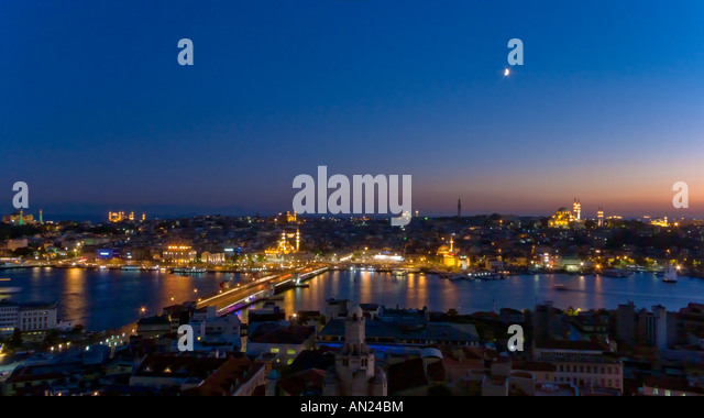 Istanbul at Twilight Turkey - Stock Image