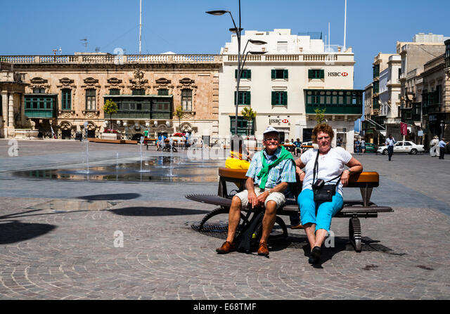Saint George's Square, Valletta, Malta. - Stock Image