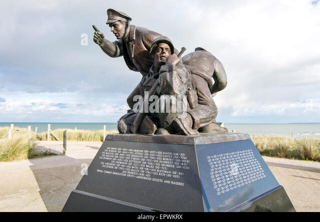 U.S. Navy Monument facing the sea at Utah Beach in Normandy, France. This beach was one of the D-Day landing sites - Stock Image