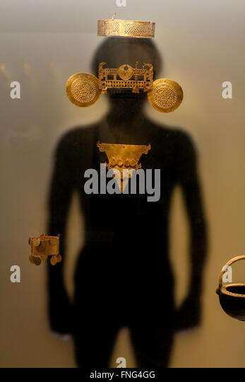 Pre Columbian Golden figure, Museo del Oro Pre-Columbian Gold Museum, Bogota, Colombia, South America - Stock Image