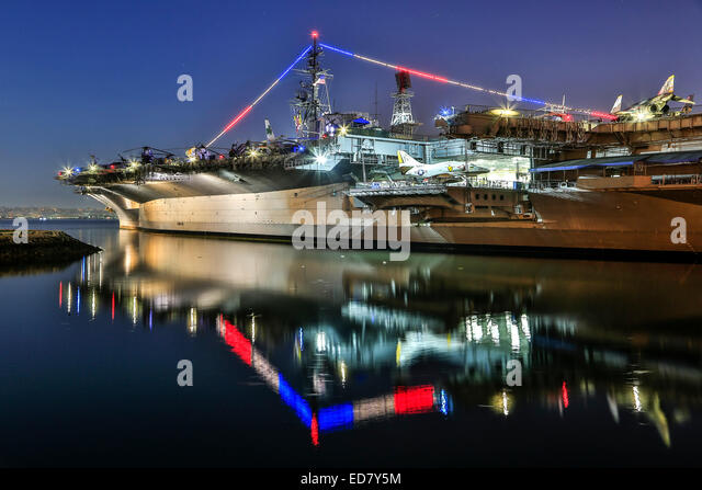 USS Midway aircraft carrier (now a museum), San Diego, California USA - Stock Image
