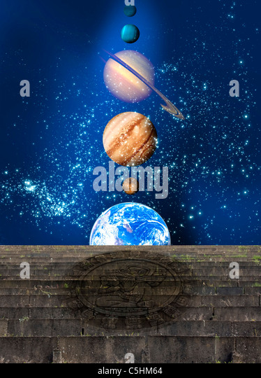 Planetary alignment, artwork - Stock Image