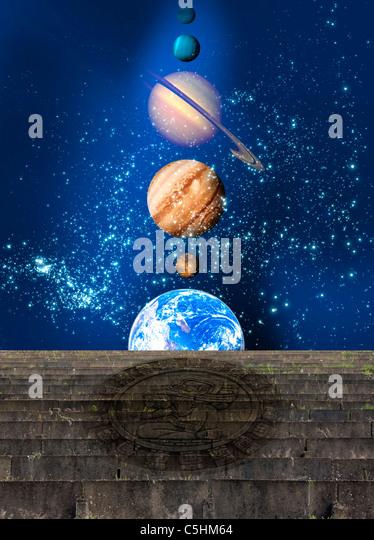 Planetary alignment, artwork - Stock Image