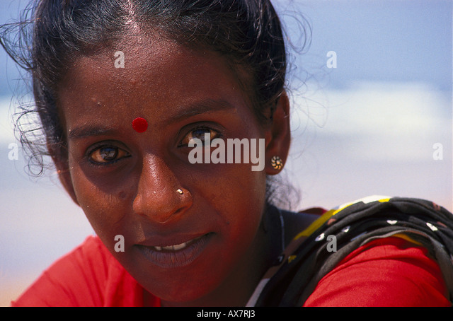 Frauenportraet, Hindu, Goa, Indien - Stock-Bilder