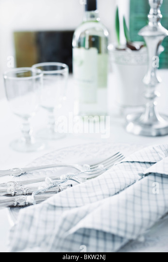 Bright dinnertable - Stock Image