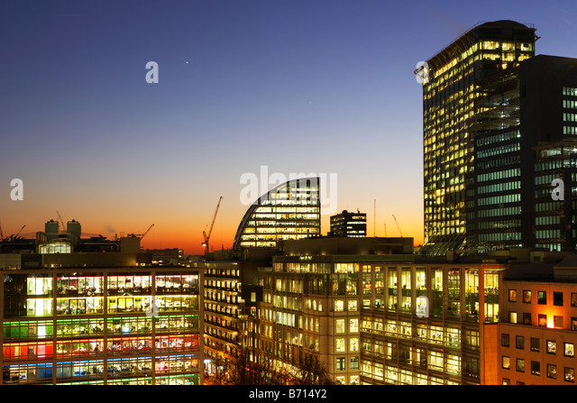 Night shot of city skyline London England - Stock Image