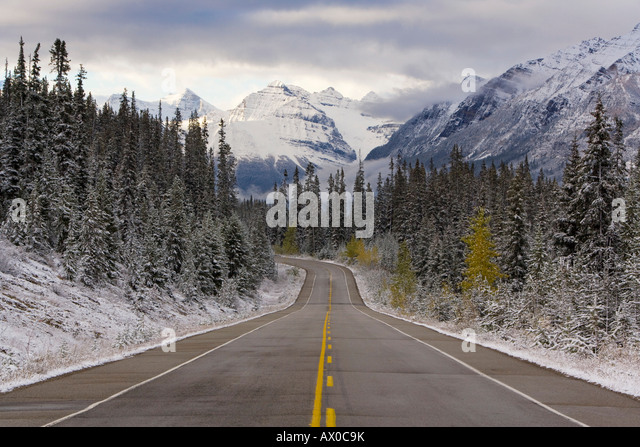 The Icefields Parkway between Banff & Jasper in Banff-Jasper National Parks, Rocky Mountains, Canada - Stock Image