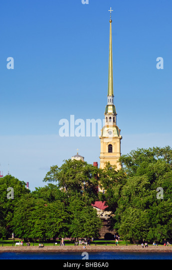 The spire of SS Peter & Paul Cathedral, part of the Peter and Paul Fortress, St Petersburg, Russia - Stock Image