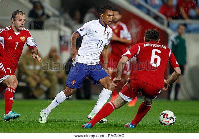 Algarve, Portugal. 14th November, 2014. PORTUGAL, Faro: Portugal's forward Nani during the UEFA EURO 2016 FRANCE, - Stock Image