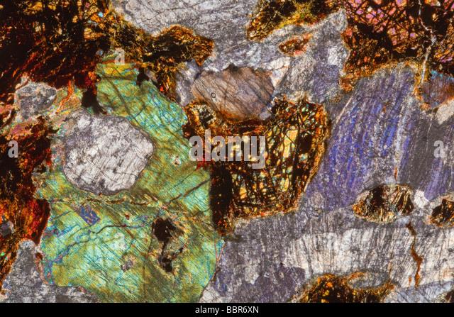 Troctolite Gabbro slide section, cross polarized lighting photomicrograph, Cornwall, UK - Stock Image