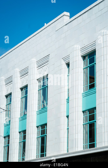 Burton's Building, exterior, restored and renovated 1930's art deco design, Aberystwyth, Wales UK - Stock Image