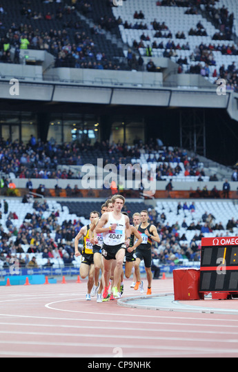 OLYMPIC 2012 ATHLETICS STADIUM, LONDON, UK. Mens 3000m at the London Test-Event, BUCS VISA  Athletics Championships - Stock Image