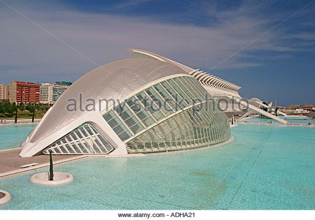 Spain Valencia City of sciences and arts by architect Santiago Calatrava L Hemisferic Hemesphere - Stock Image