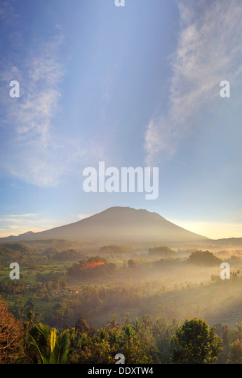 Indonesia, Bali, Sidemen, Sidemen Valley and Gunung Agung Volcano - Stock Image