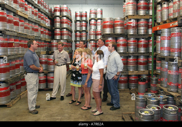 Virginia Ashburn Old Dominion Brewing Company tour keg room - Stock Image