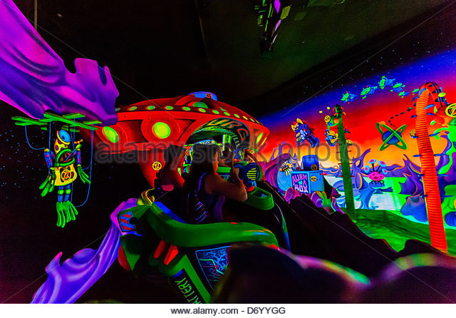 Buzz Lightyear's Space Ranger Spin ride, Magic Kingdom, Walt Disney World, Orlando, Florida USA - Stock Image