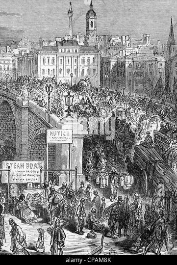 LONDON BRIDGE about 1850 - Stock-Bilder