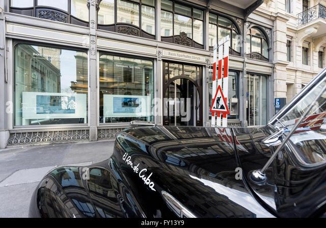 Bank Sparhafen Zurich, Oldtimer, Switzerland - Stock Image