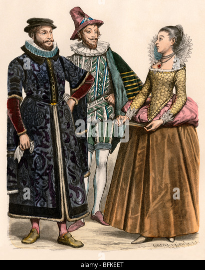 English merchant (left), noble, and a lady-in-waiting for Elizabeth I - Stock Image