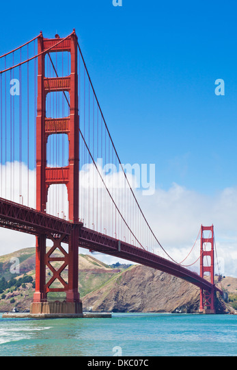 San Francisco Golden Gate Bridge day linking Marin County with the City of San Francisco California USA - Stock Image
