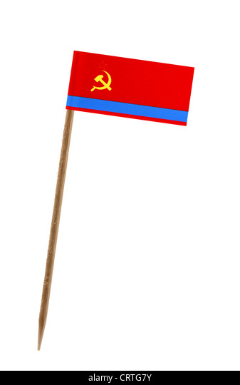 Tooth pick wit a small paper flag of Kazakstan - Stock Image