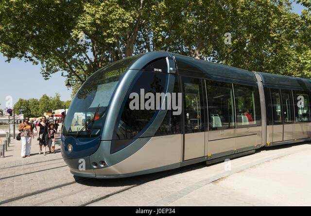 France, Bordeaux, public transportation, tram - Stock Image