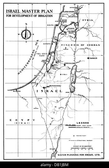 geography / travel, Israel, agriculture, concept for the construction of water pipelines for irrigation, 1960s, - Stock Image