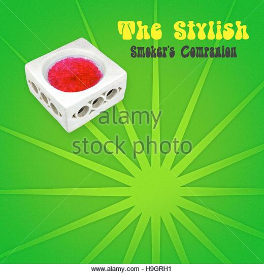 Vintage ashtray retro advert smoking smoker mid century style - Stock Image