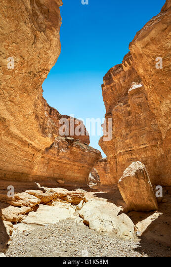 The desert canyon near the Sahara oasis of Mides, Tunisia, North Africa - Stock Image