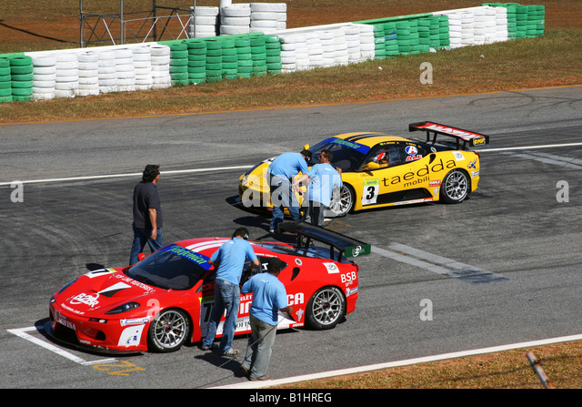 TV Press Working, GT3 Brazilian Racing Cup, Nelson Piquet, Autodrome, Brasilia, Brazil, South America - Stock Image