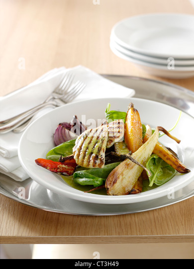 Plate of grilled vegetables in salad - Stock Image