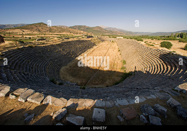 Turkey June 2008 Aphrodisias ancient city ancient site historic ruin ruins Hellenistic Roman Greek history Stadium - Stock Image