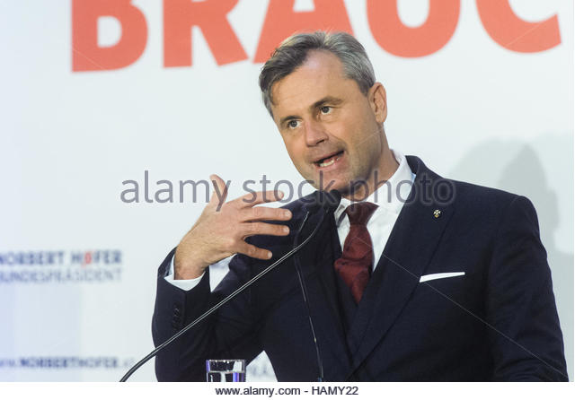 Vienna, Austria. 2nd Dec, 2016. Norbert Hofer, candidate for Austrian presidential election, gives a speech during - Stock Image