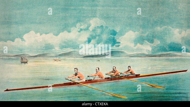 The celebrated Paris crew of Saint John, N.B., four men rowing a racing shell between 1867 to 1873 - Stock Image