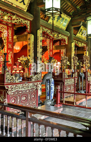 Hall dedicated to three influential monarchs in history of Imperial Academy, Temple of Literature, Hanoi, Vietnam - Stock Image
