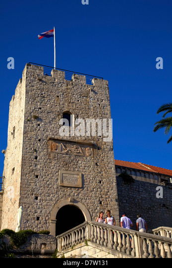 Land Gate, Korcula, Dalmatia, Croatia - Stock Image