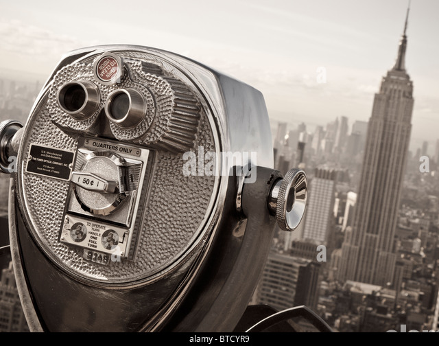 View of Empire State Building from Top of the Rock observation platform on Rockefeller Center in Manhattan New York - Stock Image