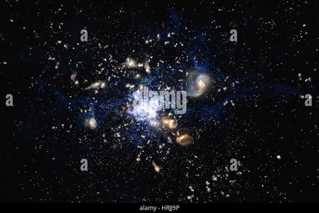 Protocluster Forming in Early Universe - Stock Image