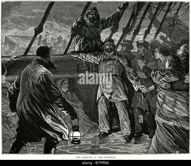 arrival lifeboat rescue sinking ship boat storm sea victims traditional clothing wet - Stock Image