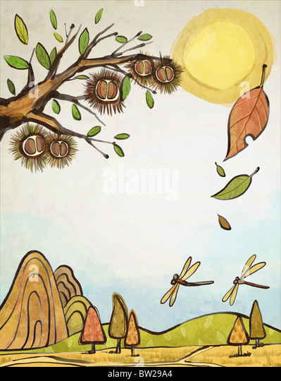 autumn air in illustraion - Stock-Bilder